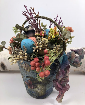 Spring Easter Floral Peat Pot Home Decor W3