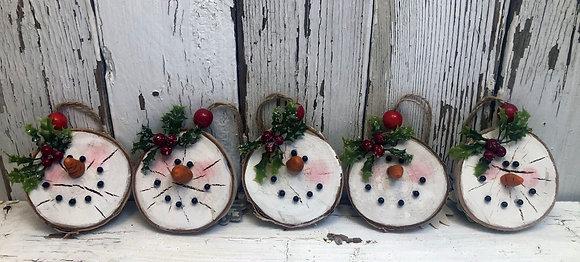 Five Birch Snowman Ornaments    (S5)