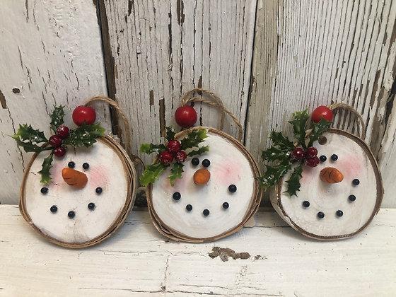 Three Birch Snowman Ornaments    (S7)