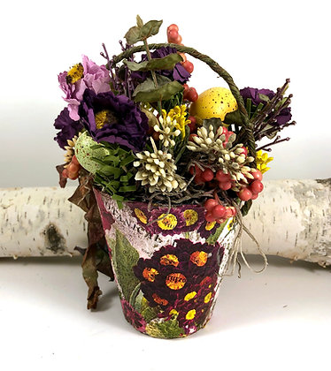 Spring Peat Pot Floral with Purple