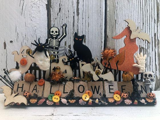 Halloween Home Decor Scrabble Tray