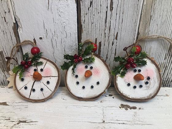 Three Birch Snowman Ornaments    (S6)