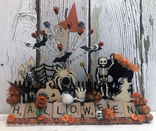 Halloween Home Decor Scrabble Table Topper