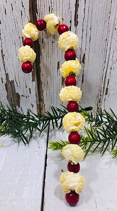 SIX Popcorn Candy Canes Beeswax Dipped Cinnamon Scented