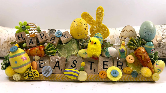 Whimsical Happy Easter Scrabble Art