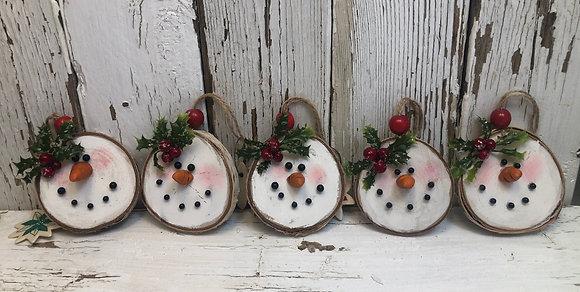 Five Birch Snowman Ornaments    (S8)