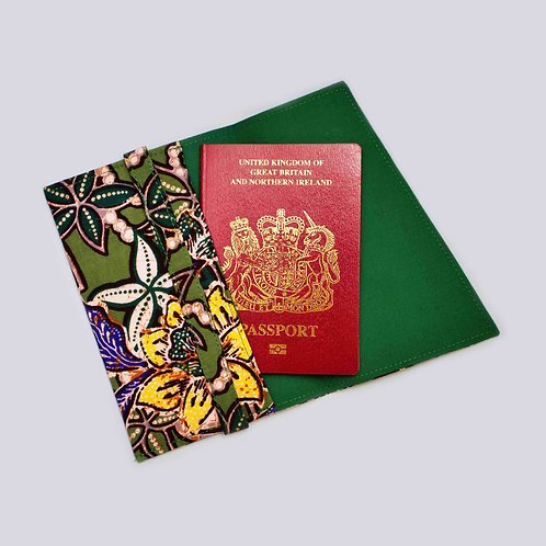 Green Floral Batik Passport Holder