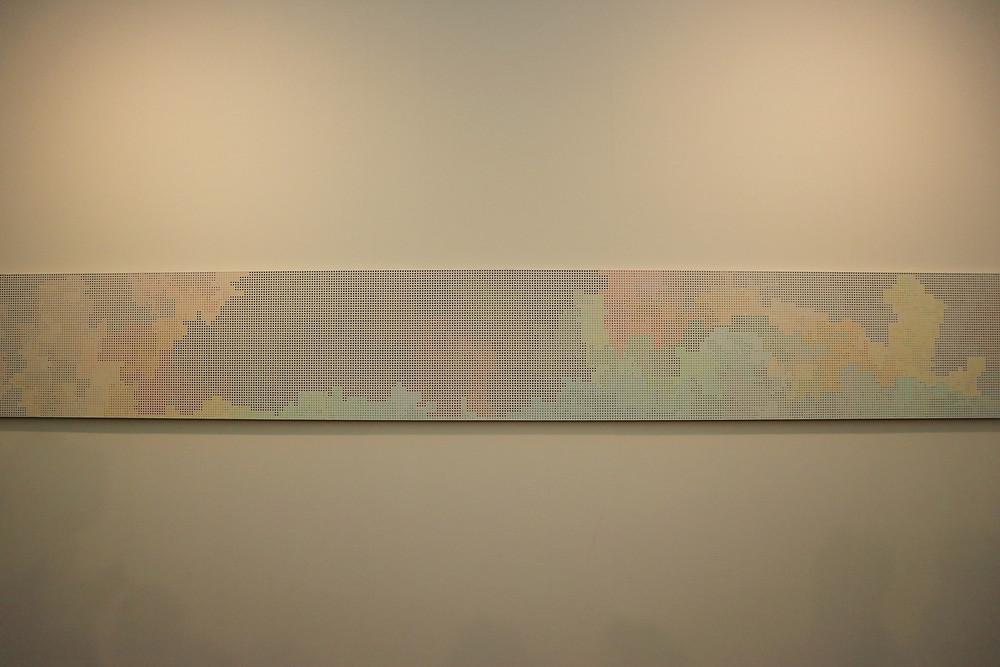 "Cheyney Thompson ""StochasticProcessPainting (33900steps): FunctionalPath (BoundryCondition: Double Localisation (Via Francesco Redi 23)):"", 2016 oil on canvas 565.5 x 60.5cm."
