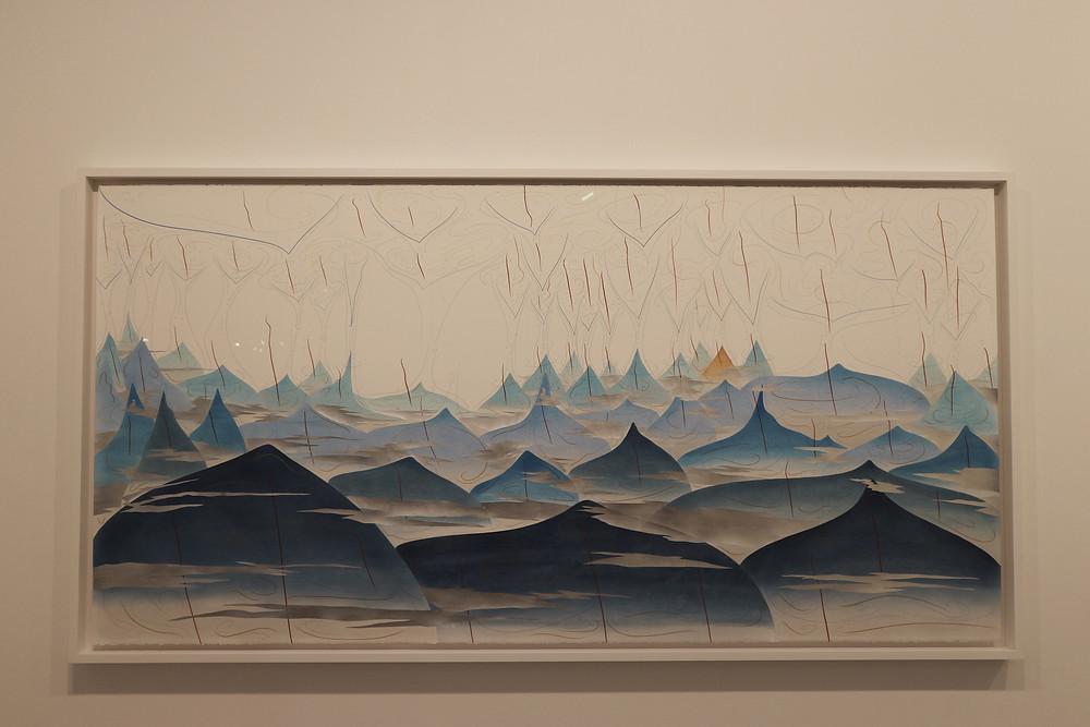 Jorinde Voigt, 41 Hills, 2017. Ink, aluminum leaf, pastel, oil crayon, and graphite on paper. 55 1/8 x 110 1/4 in, 140 x 280 cm