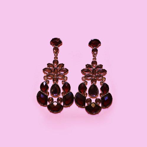 Ruby Red Princess Indian Earrings