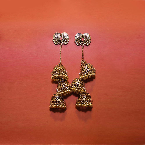 Indian Triple Bird Cage Earrings