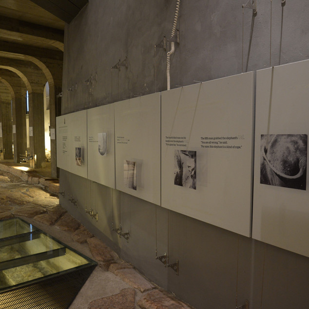 Exhibit along ancient Roman road in Trento, Italy
