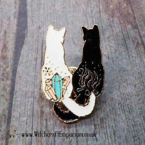 Crystal Cats Pin
