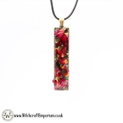 Rose and Peridot Herbal Pendant