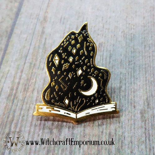 Flaming Book of Magick Pin