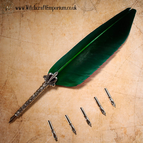 Feather Quill Dip Pen (Green)