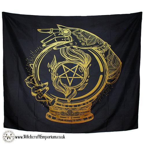 Crystal Ball Pentagram Wall Tapestry