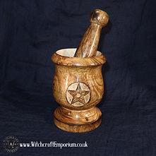 Wooden Pentacle mortar and pestle Ritual Magic Magick Wicca Wiccan Supplies Pagan.JPG
