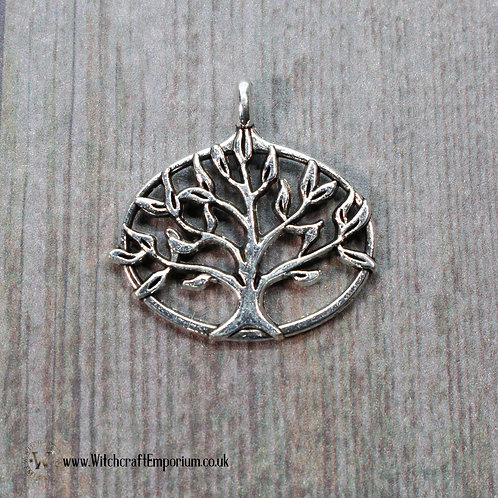 Tree of Life Oval Silver Charm