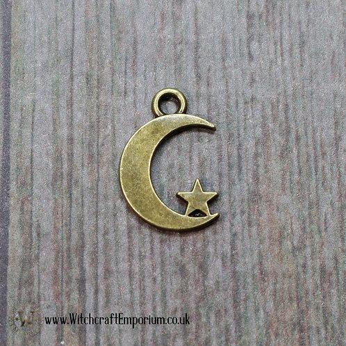 Moon Star Bronze Charm