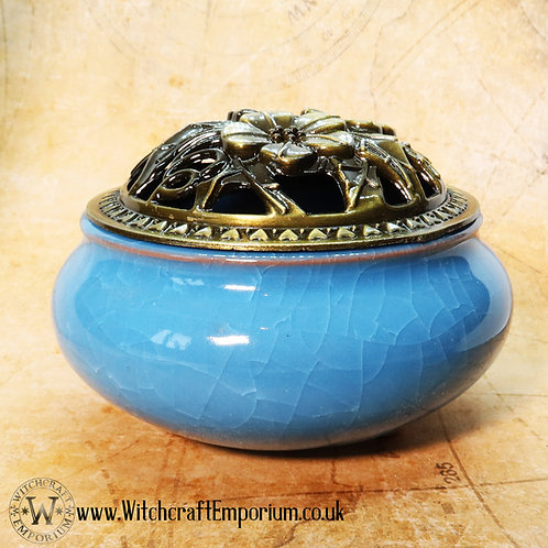 Ceramic Incense Burner - Blue