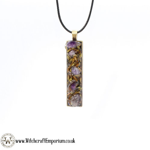Lavender and Amethyst Herbal Pendant