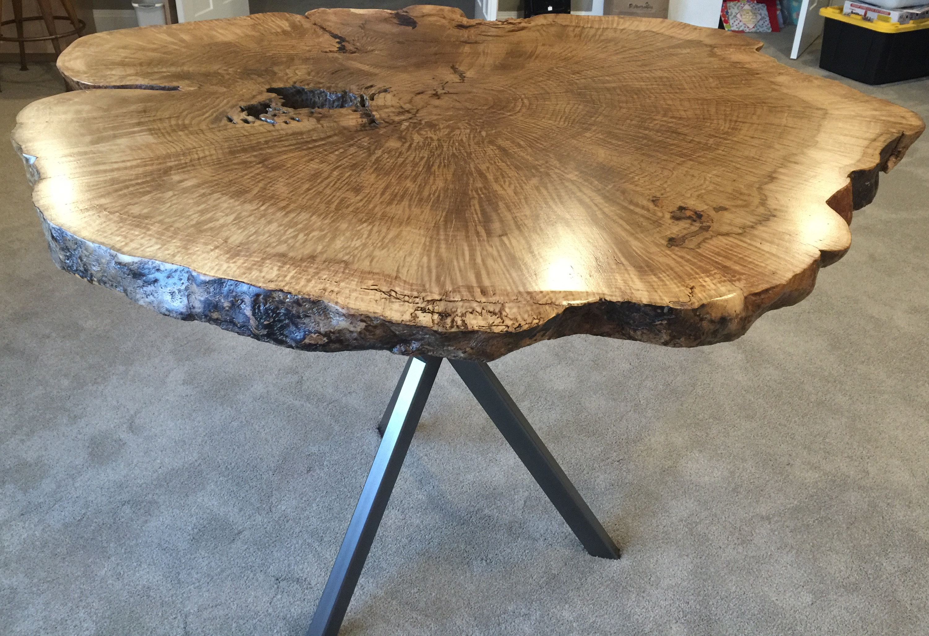 Live Edge Oak Burl Table