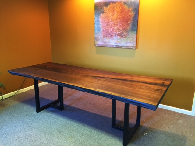 Walnut conference table with metal legs