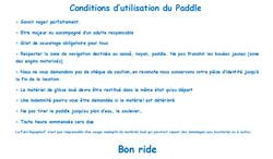 condition utilisation paddle