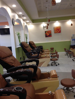 side view of nail salon chairs