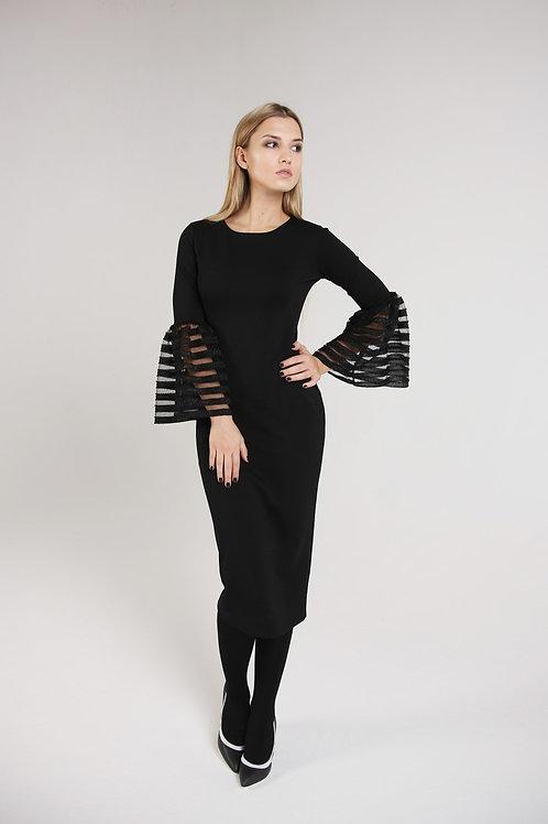 Платье с рукавами из трикотажной сетки