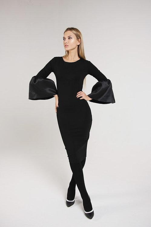 Платье с рукавами с рукавами из атласной тафты