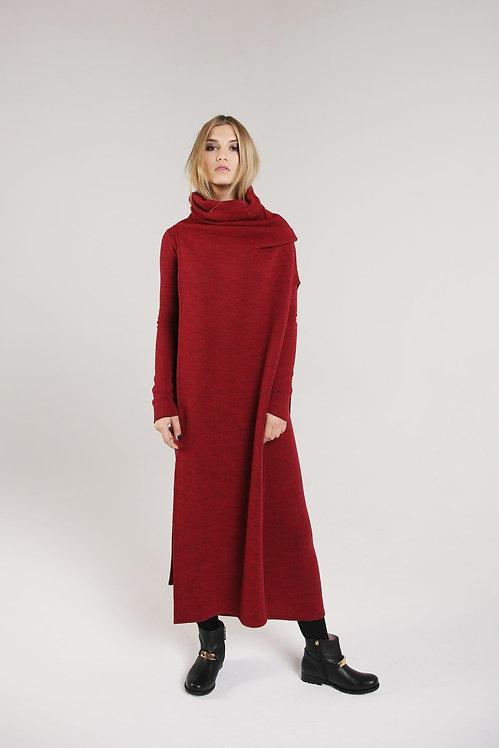 Накидка-шарф на одно плечо (бордовая)