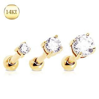 14Kt Yellow Gold Clear Prong Set CZ Cartilage Earring