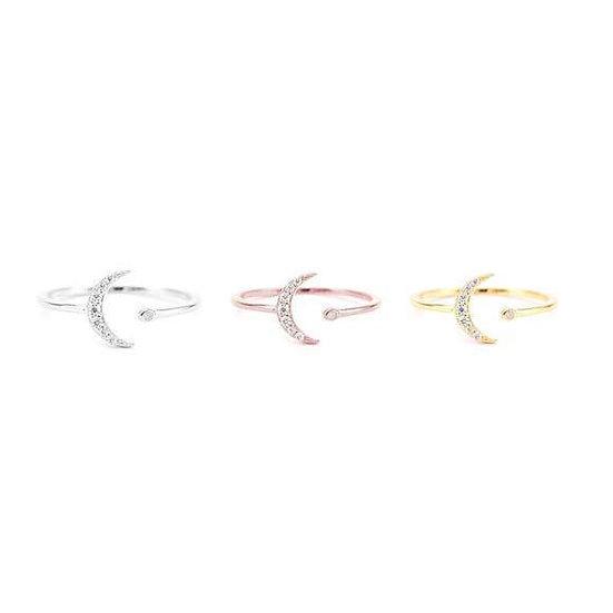 CZ Moon Open Ring Adjustable