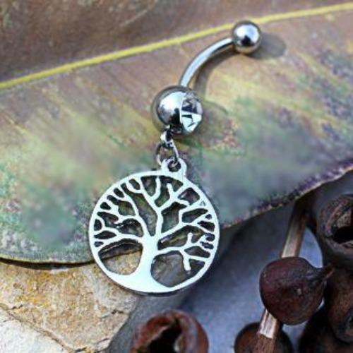 316L Stainless Steel Tree of Life Dangle Navel Ring