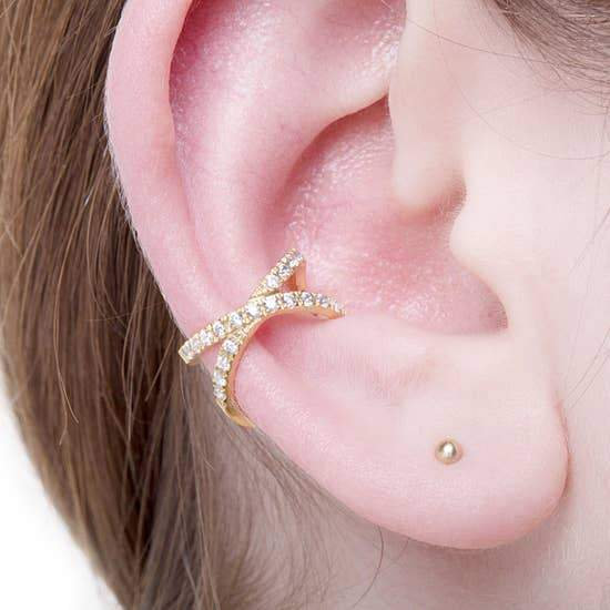 CZ Cross Ear Cuff