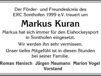 Der ERC Sonthofen trauert um Markus Kuran