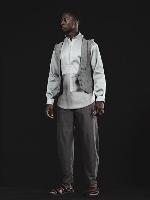Drape Slacks, Lace Vest & Two-Tone Shirt