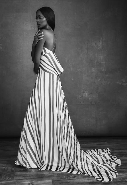 Striped Backless Gown