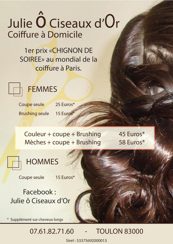 Flyer coiffure à domicile sur Toulon