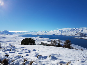 Lake Tekapo from cafe in the winter