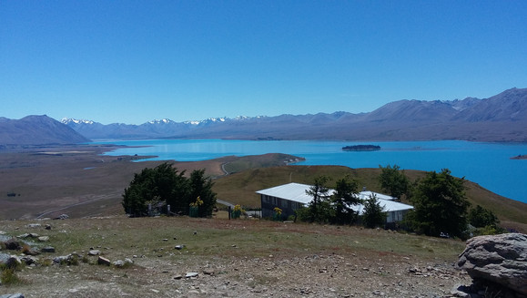 Lake Tekapo from cafe in the Summer