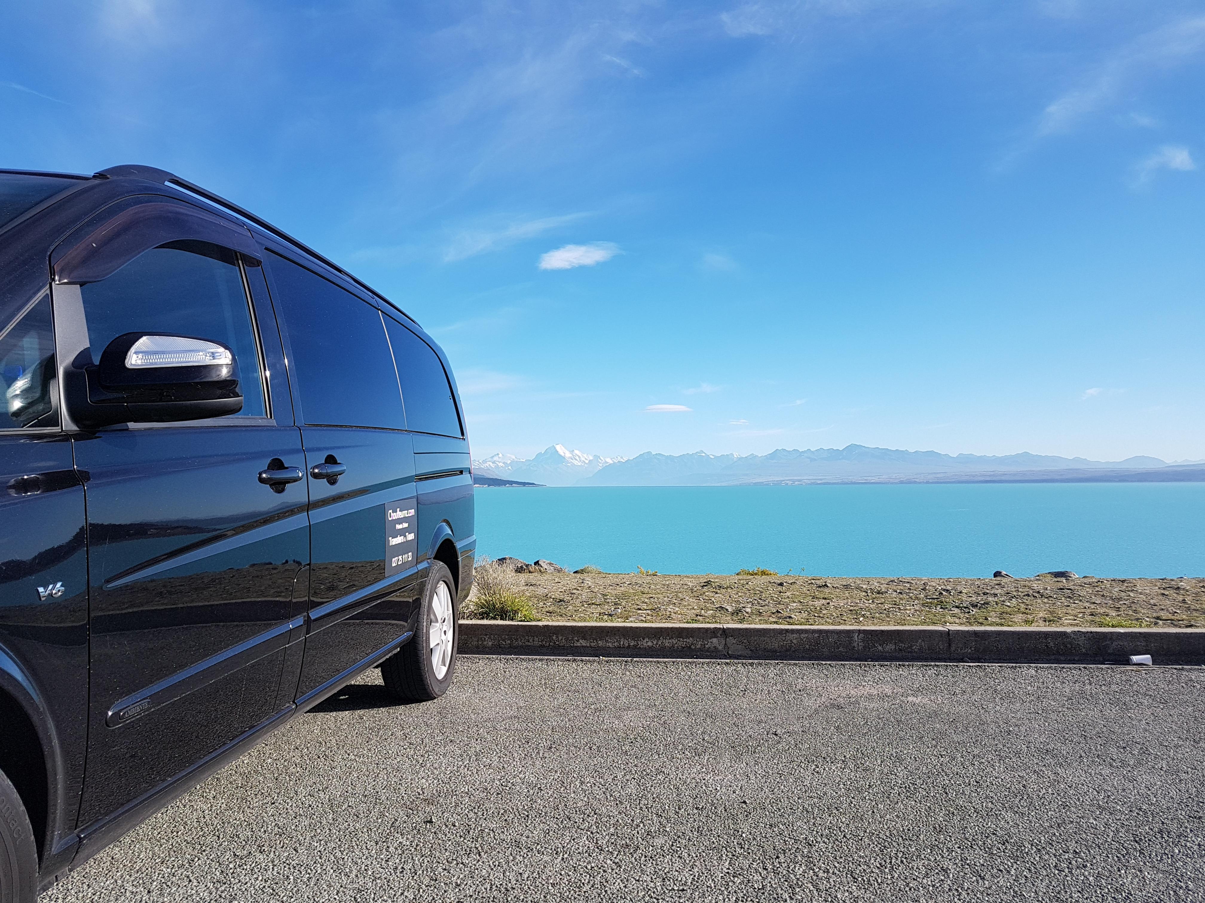 Mercedes Benz View of lake Pukaki