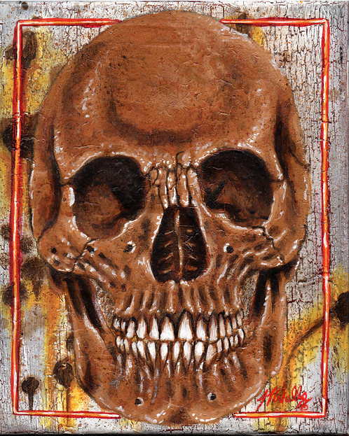 Skull With Border 8x10