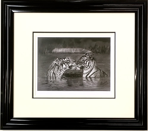 tiger water safari charcoal print