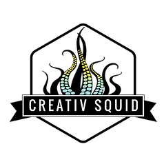 Creativ squid logo with green and yellow