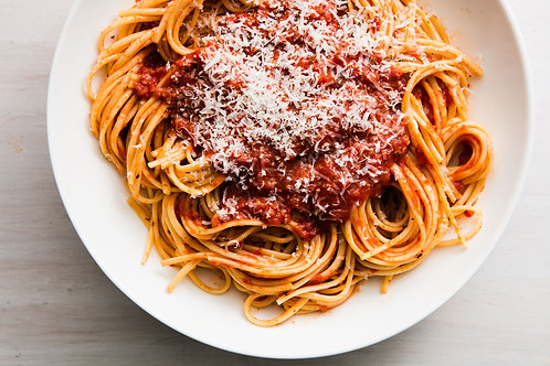 Home delivery spaghetti with red sauce