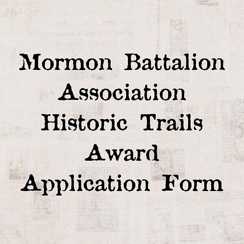 Mormon Battalion Association Historic Trails Award Application Form