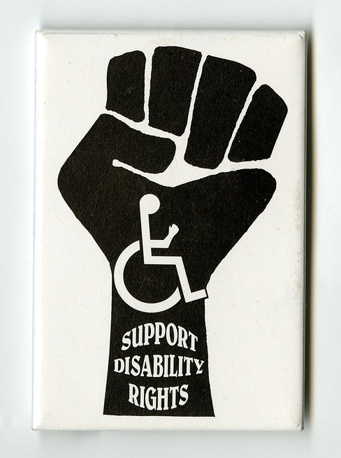 Power fist with a wheelchair symbol in the middle and text that says Support Disability Rights.